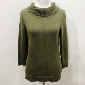 TALBOTS S Sweater Pullover Cowl Neck Olive Green